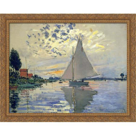 Sailboat at Le Petit-Gennevilliers 36x28 Large Gold Ornate Wood Framed Canvas Art by Claude Monet (Gold Sailboat)