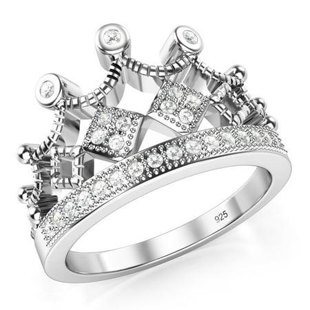 925 Sterling Silver Cubic Zirconia Princess Crown Tiara Cz Band Ring Sz 7
