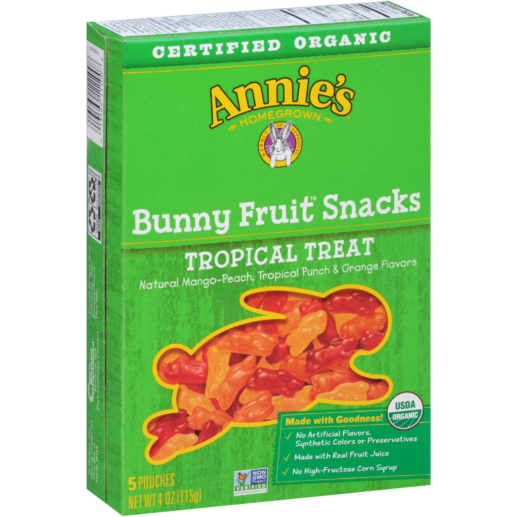 Annie's Tropical Treat Organic Bunny Fruit Snacks, 0.8 oz, 5 count