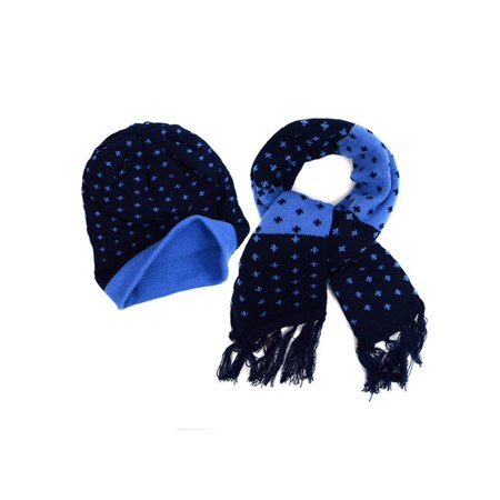 Cross Colors Hat (Kids Boys Girls Warm Winter Cross Patterned Knitted Beanie Hat and Scarf)
