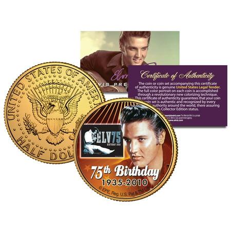 1977 ELVIS PRESLEY 75th Birthday 24K Gold Plated 1977 JFK Half Dollar U.S.