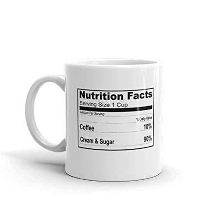 Coffee Ingredients Nutrition Facts Funny Novelty Humor 11oz White Ceramic Glass Coffee Tea Mug Cup ()