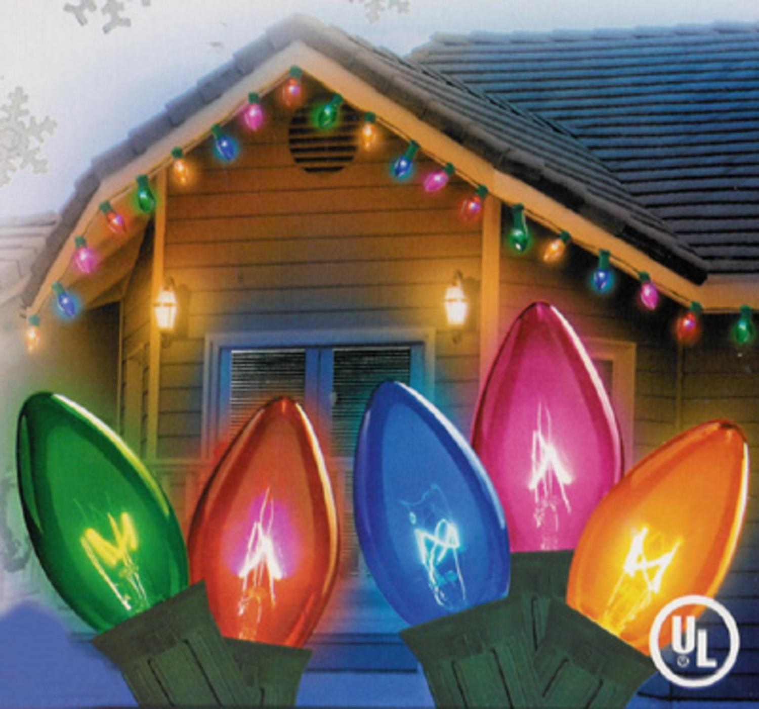 Christmas Lights C9.Set Of 25 Transparent Multi Color C9 Twinkle Christmas Lights Green Wire