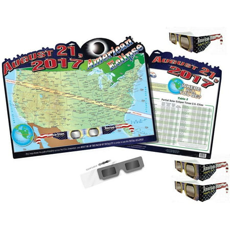 Solar Eclipse Glasses and Eclipse Map  - Folded & Sleeved