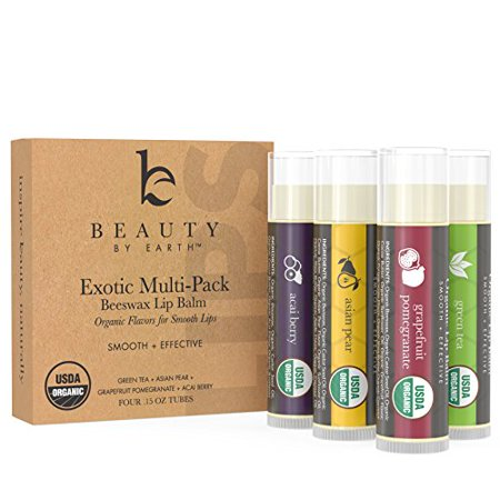 Beauty by Earth Exotic Organic Multi-Pack Beewax Lip Balm with Aloe Vera and Vitamin E, 4 Pack (Green Tea, Asian Pear, Pomegranate and Acai