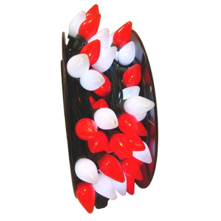 100 Commercial Length Red and White LED C7 Christmas Lights on ...