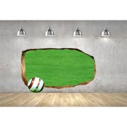 Startonight 3D Mural Wall Art Photo Decor Soccer Ball Amazing Dual View Surprise Wall Mural Wallpaper for Bedroom Sport Wall Art Gift Large 47.24 '' By 86.61 ''