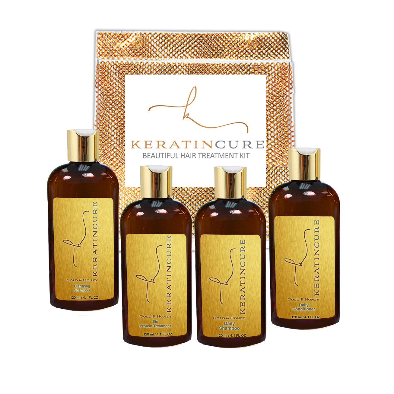 Keratin Cure Brazilian Complex Blow Out Gold & Honey Bio Protein Hair Smoothing Treatment Kit 5 pieces 120 ML 4 oz