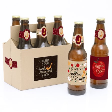 Rosh Hashanah - 6 Jewish New Year Beer Bottle Label Stickers and 1 - Decorations For New Year