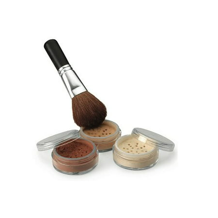 4 Pc kit with Brush Mineral Makeup Set Bare Skin Sheer Powder Full Size Foundation Cover (Best Contour Kit For Brown Skin)