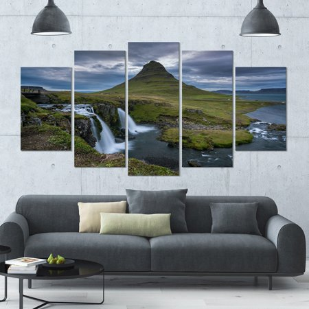 DESIGN ART Designart 'Beautiful Kirkjufellsfoss Waterfall' Landscape Canvas Wall Artwork - 60x32 5 Panels - Multi-color