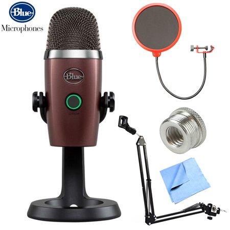 BLUE MICROPHONES Yeti Nano Premium USB Microphone (Red Onyx - 0496) + Suspension Boom Scissor Arm Stand + Microphone Wind Screen + Mic Stand Adapter + MicroFiber Cloth ()