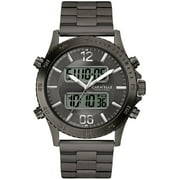 Caravelle Men's Dual Time Stainless Steel Case and Bracelet Grey Dial Gunmetal Watch - 45B136