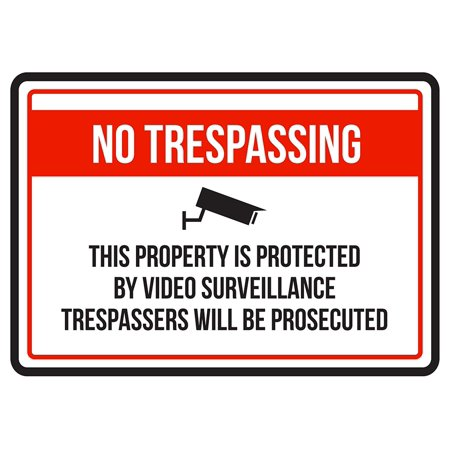 Warning Sign Halloween (No Trespassing This Property Is Protected By Video Business Commercial Warning Small Sign - 7.5 x)