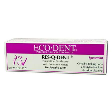 Eco Dent Res Q Dent Natural Gel Toothpaste For Sensitive Teeth  Spearmint   3 Oz  2 Pack