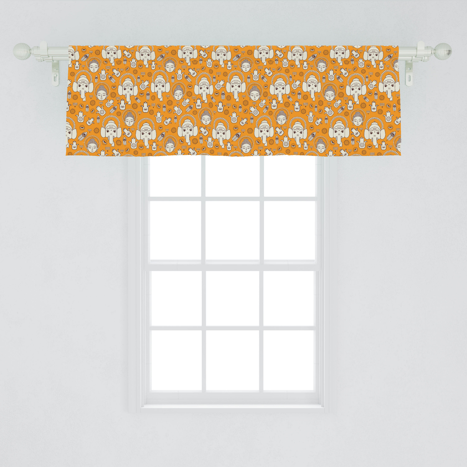 Ambesonne Ethnic Cultural Window Valance Curtain for Kitchen Bedroom in 2 Sizes