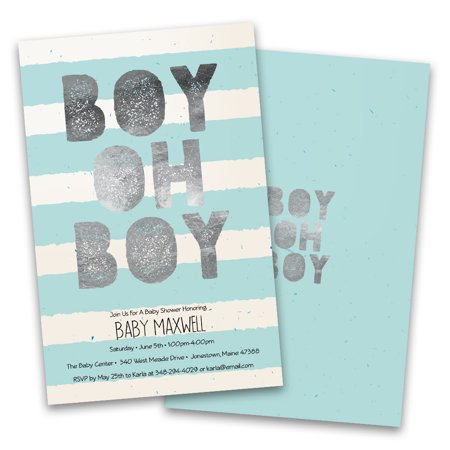 Personalized Boy Oh Boy Stripes Personalized Baby Shower Invitations (Zebra Print Baby Shower Invitations)