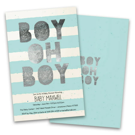 Personalized Boy Oh Boy Stripes Personalized Baby Shower - Fishing Themed Baby Shower Invitations