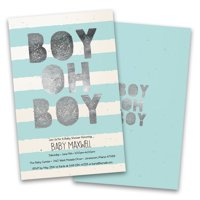 Personalized Boy Oh Boy Stripes Personalized Baby Shower Invitations