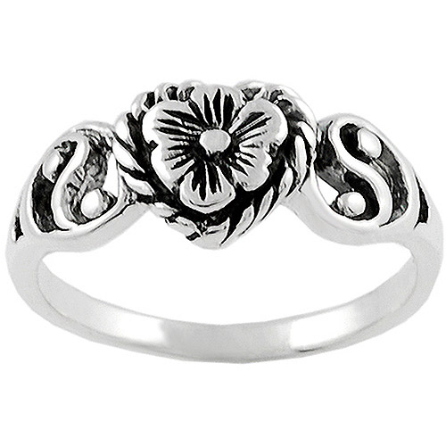 Brinley Co. Heart and Flower Ring in Sterling Silver