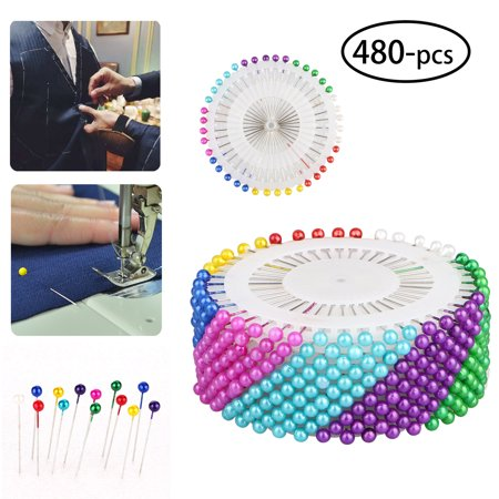480-pieces Multicolor Straight Pins with Pearlized Round Ball Head for Sewing Quilting Dress Wedding Craft