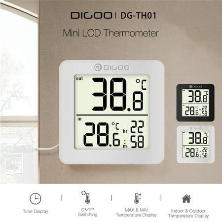 - DIGOO Mini LCD Digital Thermometer Humidity Meter Multifunction Indoor Outdoor Probe Temperature Sensor Monitor, Black/White