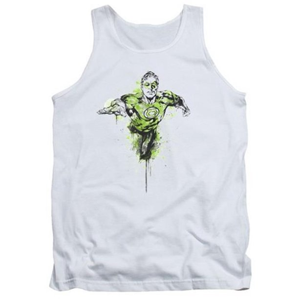 Trevco Green Lantern-Inked Adult Tank Top, White - 2X