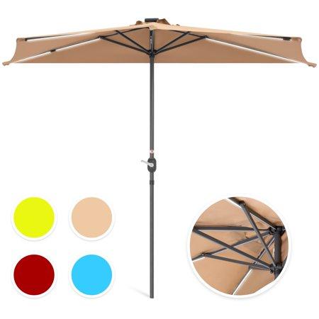 Best Choice Products 8.5-foot Solar LED Strip Lighted Half Patio Umbrella, Tan ()