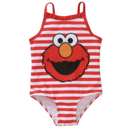 Sesame Street Infant Girls Red Stripe Elmo 1 Piece Swimming & Bathing Suit (Elmo Suit For Sale)