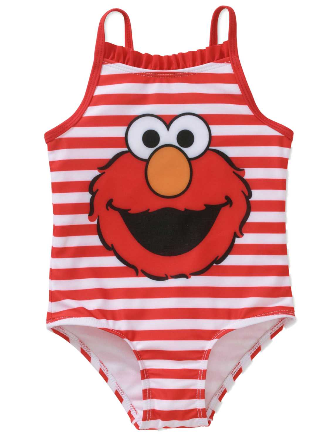 Sesame Street Infant Girls Red Stripe Elmo 1 Piece Swimming & Bathing Suit