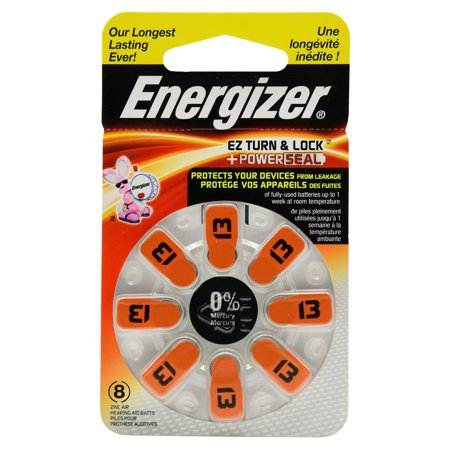 Energizer EZ Turn & Lock + Power Seal Zinc Air Hearing Aid Batteries, 1.4V, Mercury-free, Size 13, Pack of 8 ()