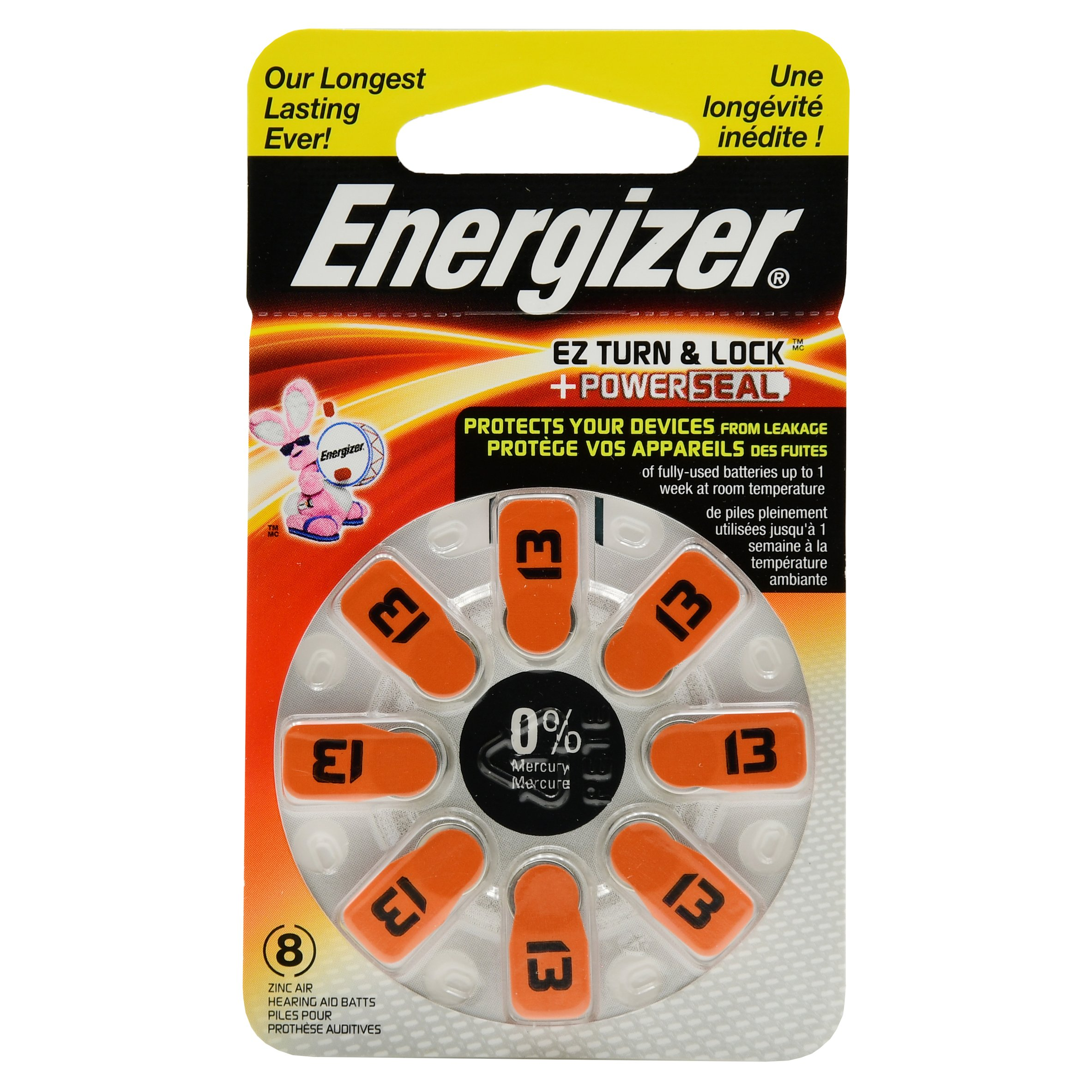 Energizer EZ Turn & Lock + Power Seal Zinc Air Hearing Aid Batteries, 1.4V, Mercury-free, Size 13, Pack of 8