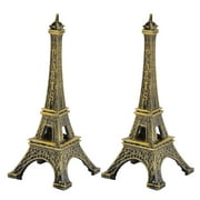 Home Decor Metal Paris Eiffel Tower Model Souvenir Bronze Tone 8cm Height 2 Pcs