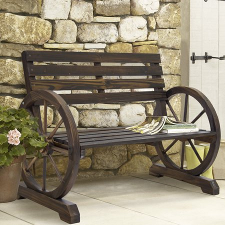 Simple Wooden Bench (BCP Wooden Rustic Wagon Wheel Bench for Patio, Garden, Outdoor- Brown)