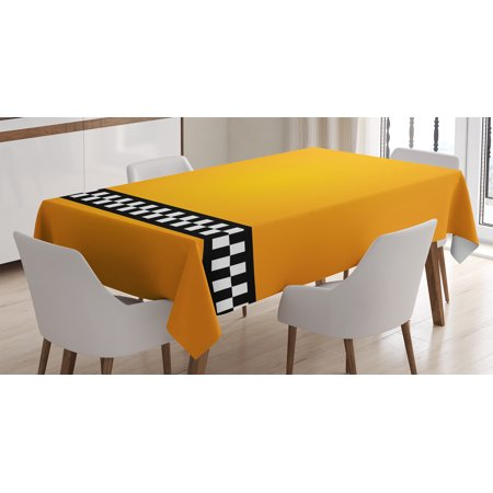 Yellow Decor Tablecloth, Taxi Cab Yellow with line of Checkers Classic Artdeco Arts Print, Rectangular Table Cover for Dining Room Kitchen, 60 X 84 Inches, Yellow White and Black, by Ambesonne