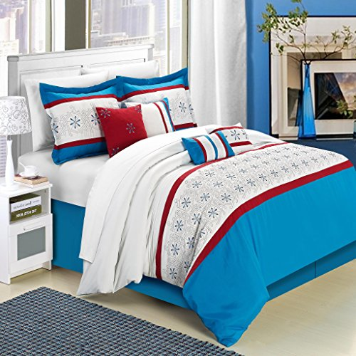 Chic Home 8 Piece Bella Rose Embroidered Comforter Set Queen Blue Walmart Canada