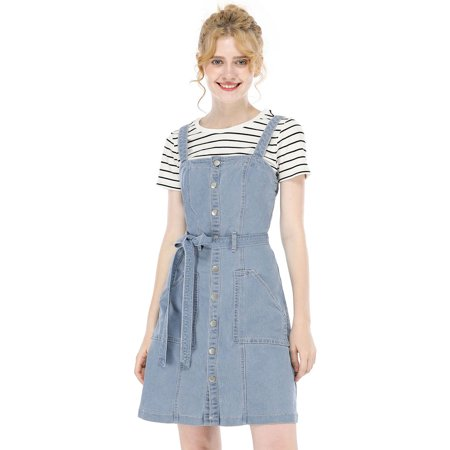Unique Halloween Costume Ideas For Adults (Unique Bargains Women's Dresses A-Line Overall Denim Dress S (US 6) Light)