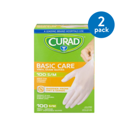 (2 Pack) Curad Basic Care Vinyl Exam Gloves, Small/Medium, 100 count