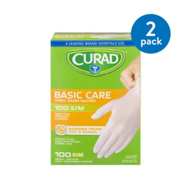 (2 Pack) Curad Basic Care Vinyl Exam Gloves, Small/Medium, 100 count