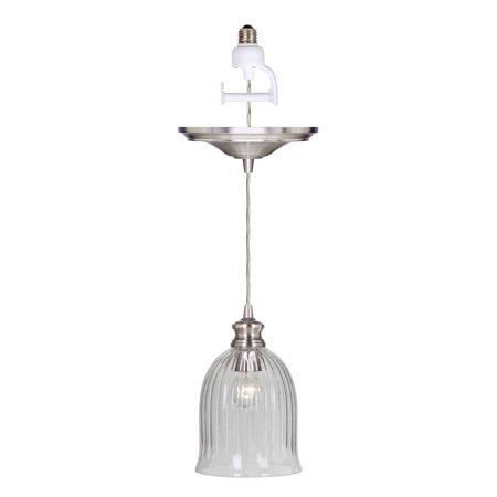 Instant Pendant Recessed Light Conversion Kit Brushed Nickel Glass Shade ()
