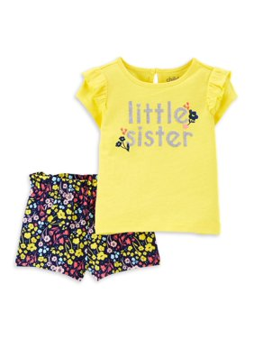 Child of Mine by Carter's Baby Girl Little Sister T-Shirt & Shorts Outfit, 2pc Set