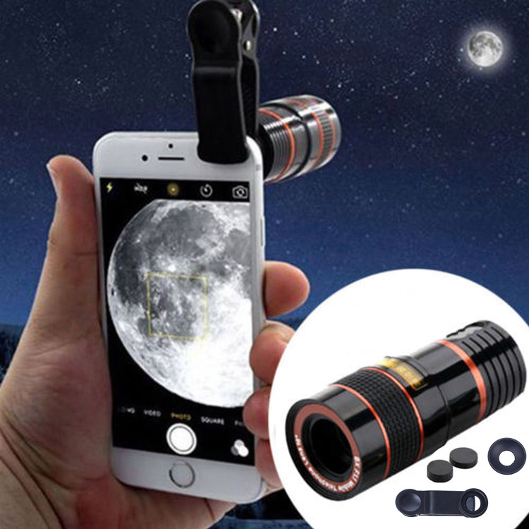 Clip-on 12 x Optical HD Telescope Camera Lens For Universal Mobile Phone(Not Zoomable)