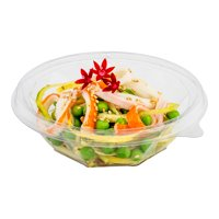 "Basic Nature 8 oz Round Clear PLA Plastic To Go Bowl - Compostable - 5"" x 5"" x 1 1/2"" - 500 count box"
