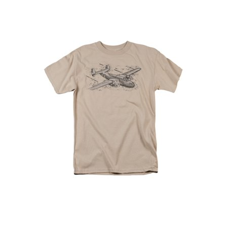 Airplane Sketch Cool Graphic Adult T-Shirt Tee - Airplane Shirt