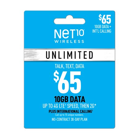 Net10 $65 Unlimited International 30 Day Plan (10GB at high speed, then 2G*) (Email