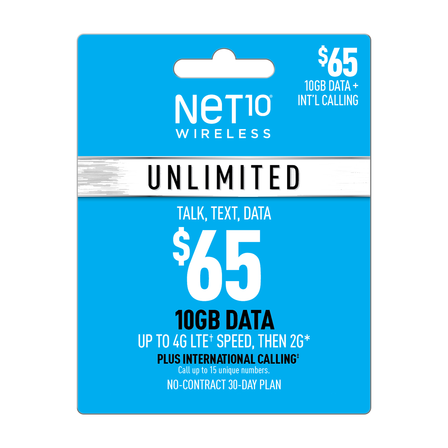 Net10 $65 Unlimited International 30 Day Plan (10GB at high speed, then 2G*) (Email Delivery)