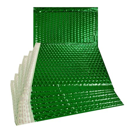 ABC 50 Pack Metallic Bubble mailers 12.75 X 10.5. Green Padded envelopes 12 3/4 x 10 1/2. Large Glamour Bubble mailers Peel and Seal. Cushion mailing envelopes for Shipping. Wholesale Price.