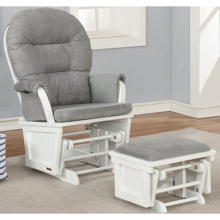Lennox Glider Rocker with Ottoman white and Grey