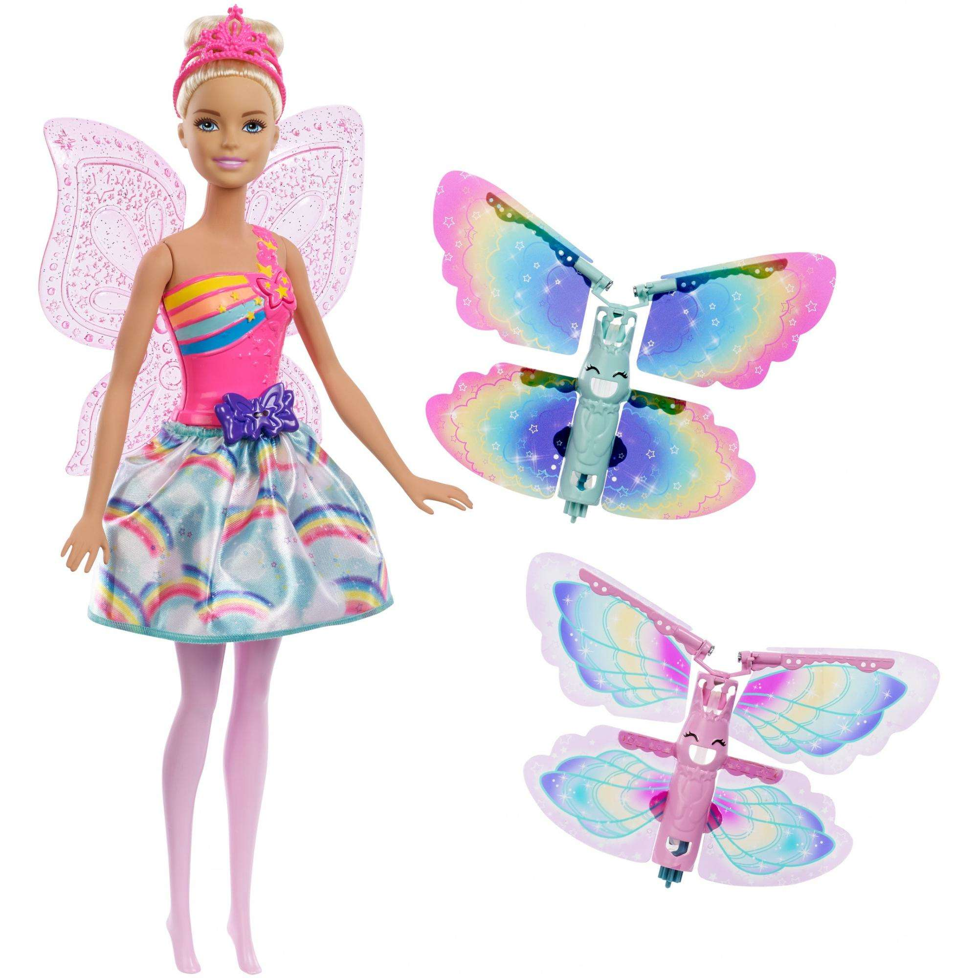 Click here to buy Barbie Dreamtopia Flying Wings Fairy Doll with Blonde Hair by Mattel.
