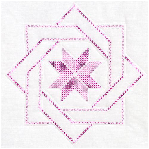 "Stamped White Quilt Blocks, 18"" x 18"", 6pk, Woven Star"
